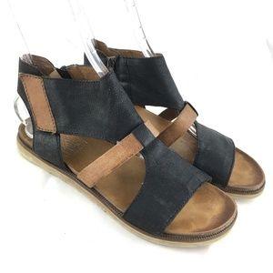 Miz Mooz Tamsyn sandals black brown leather flat